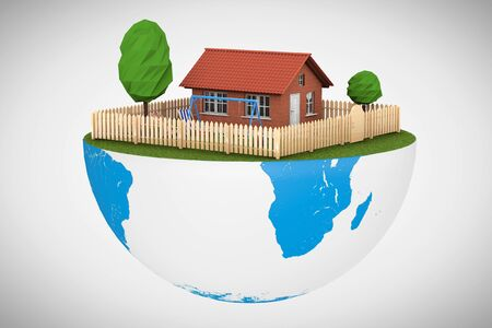 half globe: Real Estate Concept. Small House with Fence and Garden over half of Earth Globe on a white background. 3d Rendering