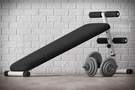 benchpress: Exercise bench. Gym Equipment in front of brick wall. 3d Rendering Stock Photo