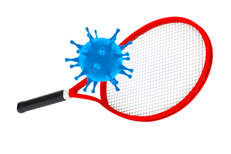 kill: Sport Kill the Virus Concept. Tennis Racket with Virus on a white background. 3d Rendering Stock Photo