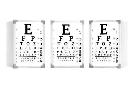 Snellen Eye Chart Test Boxes on a white background. 3d Rendering Stock Photo