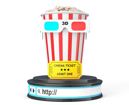 admit one: Box of Popcorn, 3D Glasses and an Admit One ticket over Browser Address Bar as Round Platform Pedestal on a white background. 3d Rendering