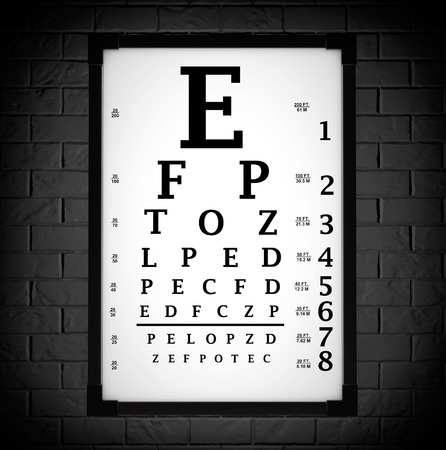 front of the eye: Snellen Eye Chart Test Box in front of brick wall. 3d Rendering Stock Photo