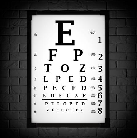 Snellen Eye Chart Test Box in front of brick wall. 3d Rendering Stock Photo