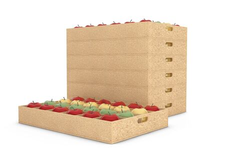 green apples: Wooden Crate Boxes with Yellow, Red and Green Apples on a white background. 3d Rendering