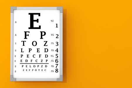 Snellen 눈 차트 테스트 상자 오렌지 벽의 앞에. 3D 렌더링