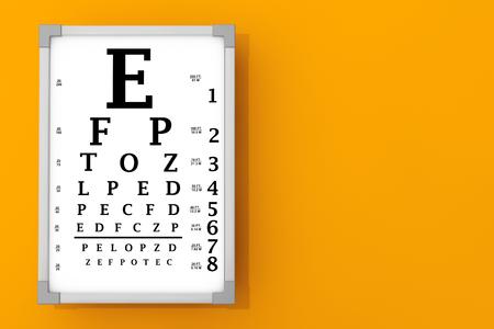 front of the eye: Snellen Eye Chart Test Box in front of orange wall. 3d Rendering