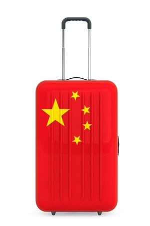 concep: Travel to China Concep. Suitcase with China flag on a white background. 3d Rendering Stock Photo