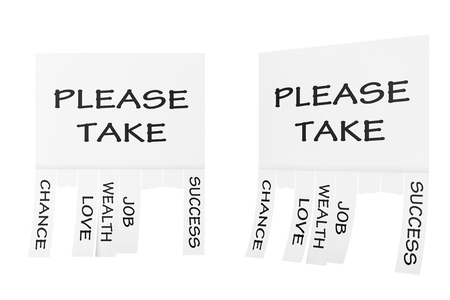 slips: Advertising Papers with Cut Slips and Please Take Sign on a white background. 3d Rendering