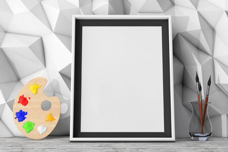 pallette: Blank Picture Frame with Paintbrushes and Pallette in front of Low Polygon Decorative Wall extreme closeup. 3d Rendering Banque d'images