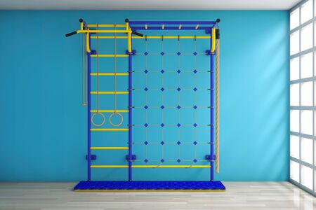 wall bars: Sports Playground Wall Bars for children against a blank blue wall in room. 3d Rendering