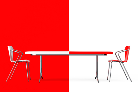 confrontation: Confrontation Concept. Black and White Chairs and Desk in front of red and white background. 3d Rendering Stock Photo