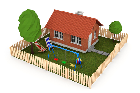 Real Estate Concept. Small House with Fence and Garden on a white background. 3d Rendering Stock Photo