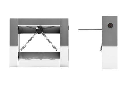 tripod: Entrance Tripod Turnstile on a white background. 3d Rendering
