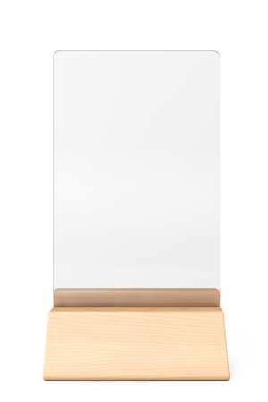 assign: White Blank Transparent Table Plate Card on a white background. 3d Rendering