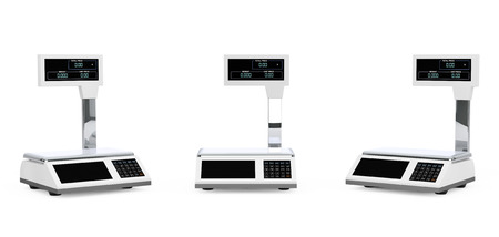 deliberation: Electronic Scales for weighing Food on a white background. 3d Rendering
