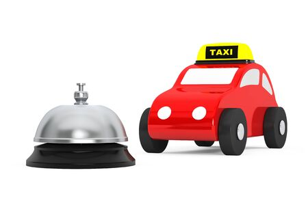 service bell: Toy Taxi Car with Service Bell on a white background. 3d Rendering