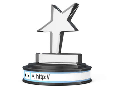 address bar: Star Trophy over Browser Address Bar as Round Platform Pedestal on a white background. 3d Rendering Stock Photo