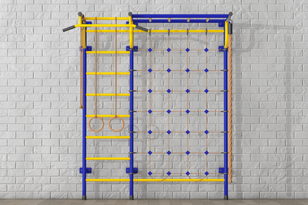 wall bars: Sports Playground Wall Bars for children in front of Brick Wall. 3d Rendering