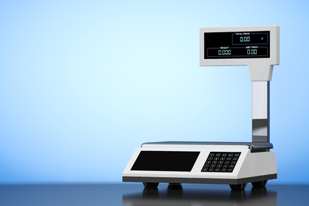 deliberation: Old Style Photo. Electronic Scales for weighing Food on a blue background. 3d Rendering Stock Photo