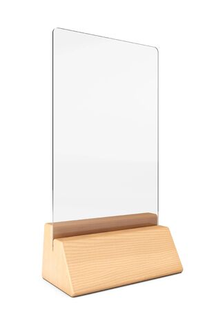 placecard: White Blank Transparent Table Plate Card on a white background. 3d Rendering