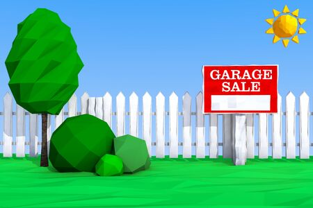 house clearance: Garage Sale Board on grass Field in Low Polygons Style extreme closeup. 3d Rendering
