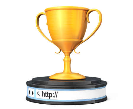 address bar: Glden Trophy over Browser Address Bar as Round Platform Pedestal on a white background. 3d Rendering