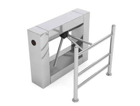 automatic doors: Entrance Tripod Turnstile on a white background. 3d Rendering