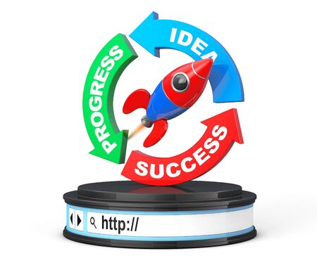 stage coach: Progress, Idea, Success Arrow Diagram with Rocket over Browser Address Bar as Round Platform Pedestal on a white background. 3d Rendering Stock Photo