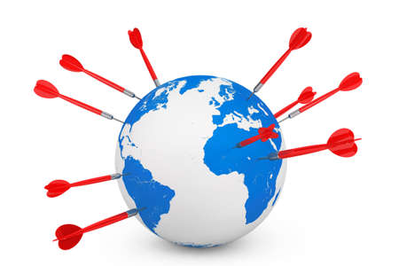 globalism: Darts Stick into a Earth Globe on a white background. 3d Rendering