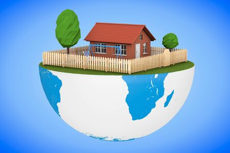 half globe: Real Estate Concept. Small House with Fence and Garden over half of Earth Globe on a blue background. 3d Rendering Stock Photo