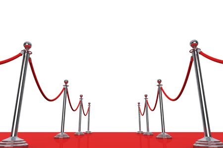 barrier rope: Red Carpet and Barrier Rope on a white background. 3d Rendering Stock Photo