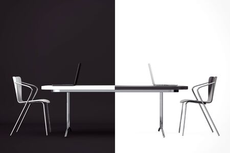 confrontation: Confrontation Concept. Black and White Chairs and Desk in front of black and white background. 3d Rendering Stock Photo