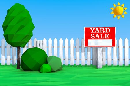 yard sale: Yard Sale Board on grass Field in Low Polygons Style extreme closeup. 3d Rendering Stock Photo