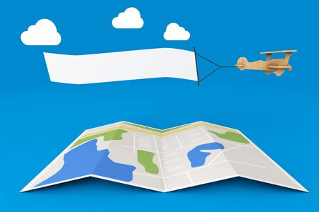 wooden toy: Blank Aerial Advertising. Wooden Toy Airplane with Empty Banner over City Map on a blue background. 3d Rendering Stock Photo