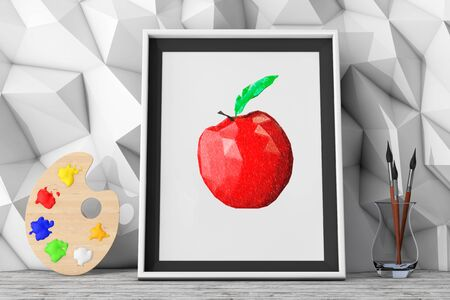 pallette: Picture of Apple with Paintbrushes and Pallette in front of Low Polygon Decorative Wall extreme closeup. 3d Rendering