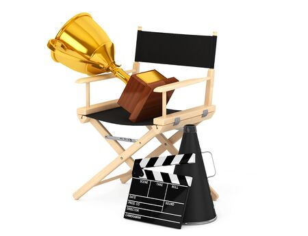 Director Chair, Movie Clapper and Megaphone with Golden Trophy on a white background. 3d Rendering
