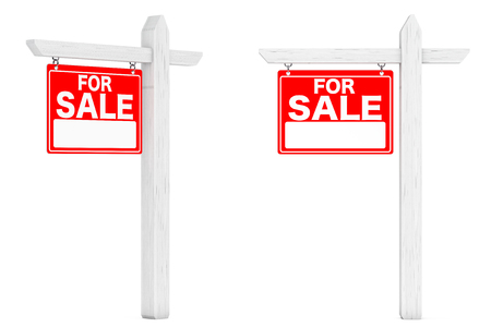 realtor: For Sale Real Estate Signs on a white background. 3d Rendering