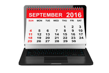 september calendar: 2016 year calendar. September calendar over laptop screen on a white background. 3d rendering