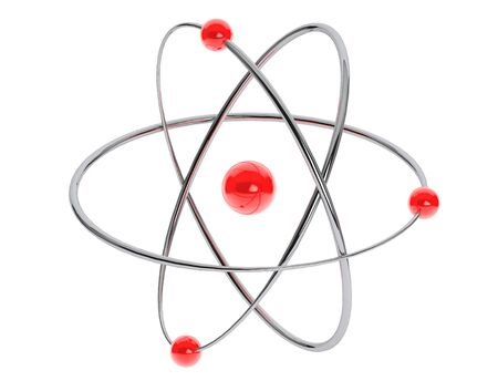 Chrome Atom, Molecule Icon on a white background. 3d Rendering Stock Photo