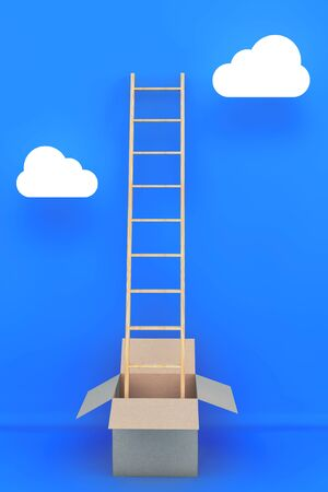 career up: Thinking Outside of the Box. Ladder with Box in front of sky with clouds background. 3d Rendering Stock Photo