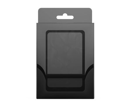 Product Package Blister Box With Hang Slot on a white background. 3d Rendering Stock Photo