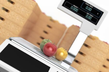 foodstuff: Electronic Scales for weighing Food with Apples Boxes on a white background. 3d Rendering Stock Photo