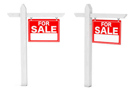 outdoor advertising construction: For Sale Real Estate Signs on a white background. 3d Rendering