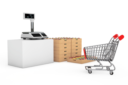 Electronic Scales for weighing Food with Apples Boxes on a white background. 3d Rendering Stock Photo