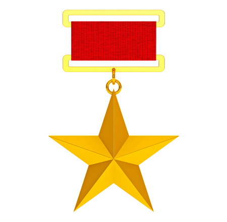 recompense: Hero of the Soviet Union Gold Star Award on a white background. 3d Rendering