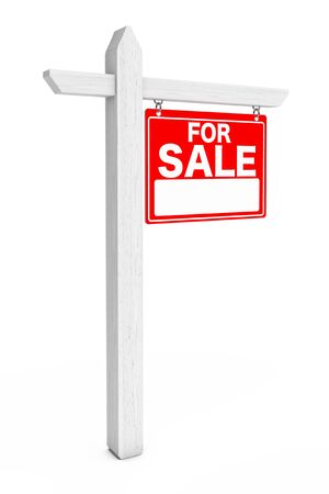 for sale: For Sale Real Estate Sign on a white background. 3d Rendering