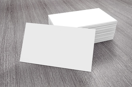 advisement: Stacks of Blank Business Cards on a wooden table. 3d Rendering Stock Photo