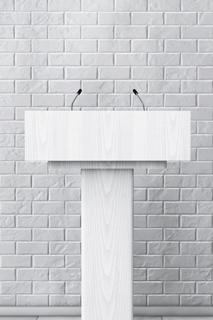 spokesman: White Podium Tribune Rostrum Stand with Microphones in front of Brick Wall. 3d Rendering
