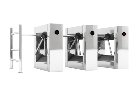 automatic doors: Entrance Tripods Turnstile on a white background. 3d Rendering