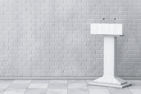 tribune: White Podium Tribune Rostrum Stand with Microphones in front of Brick Wall. 3d Rendering